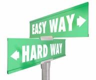 Fácil contra a maneira 2 dura dos sinais de estrada dois da maneira ilustração do vetor