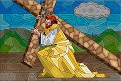Pintura do vitral da crucificação ilustração royalty free