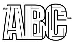 Fácil solucionar el laberinto del ABC Imagen de archivo libre de regalías