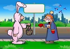 Fâché contre le lapin de Pâques Photos libres de droits
