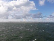 Föhr从轮渡的风景视图 库存照片