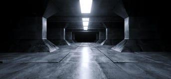 Führte Schiffs-Schmutz-konkretes reflektierendes Spalten-Korridor-Raumschiff-moderner blauer weißer glühender Neonlaser Sci FI fu lizenzfreie abbildung