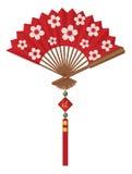 Fã chinês com ilustração de Cherry Blossom Flowers Design Vetora Fotografia de Stock Royalty Free