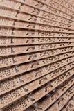 Fã chinês de madeira no fundo branco Fotos de Stock Royalty Free