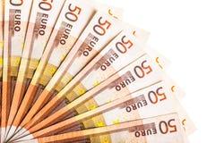 Fã da moeda do Euro isolado Imagens de Stock