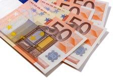 Fã das notas da moeda do Euro 50 Imagem de Stock Royalty Free