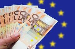 Fã de 50 euro- contas Imagens de Stock