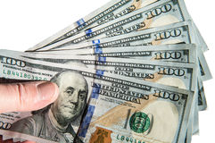 Fã de 100 notas de dólar Imagem de Stock Royalty Free