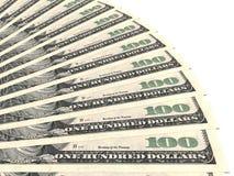 Fã do dinheiro Cem dólares Imagens de Stock