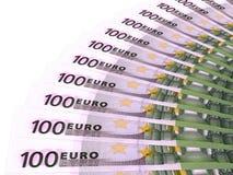 Fã do dinheiro Cem euro Imagens de Stock