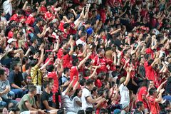 Fã do futebol Tailândia no futebol internacional Invi de Banguecoque Imagens de Stock Royalty Free