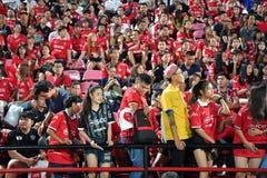 Fã do futebol Tailândia no futebol internacional Invi de Banguecoque Fotografia de Stock Royalty Free
