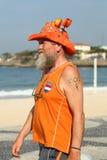 Fã holandês após a competição olímpica da rota da estrada de ciclismo do Rio 2016 do Rio 2016 Jogos Olímpicos na praia de Copacab Fotos de Stock Royalty Free