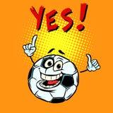 Fã sim feliz Bola de futebol do futebol Caráter engraçado ilustração royalty free