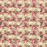 Fã vitoriano do vintage e teste padrão floral das rosas Fotografia de Stock Royalty Free