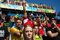 Fãs chilenos no campeonato do mundo 2014 de FIFA Fotos de Stock Royalty Free