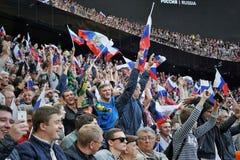 Fãs da equipa de futebol nacional do russo durante o fósforo contra Costa Rica Imagens de Stock
