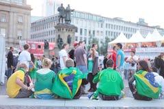 Fãs de Brasil foto de stock