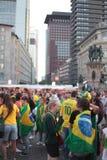Fãs de Brasil em Francoforte fotografia de stock