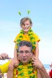 Fãs de futebol do pai e da filha. Imagens de Stock Royalty Free