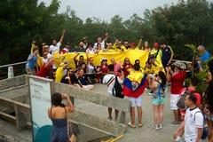 Fãs de futebol dos Colombians no campeonato do mundo de FIFA Fotografia de Stock Royalty Free