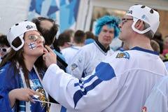 Fãs de hóquei em gelo de Finlandia Fotografia de Stock Royalty Free