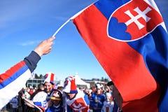 Fãs de hóquei eslovacos Fotos de Stock