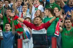 Fãs do clube Lokomotiv do futebol na ação Fotografia de Stock Royalty Free