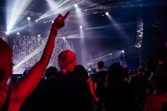 Fãs dos espectadores da mostra do desempenho musical do concerto fotos de stock royalty free