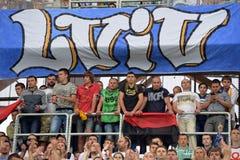 Fãs em Lviv Imagens de Stock