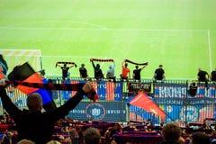 Fãs no estádio Imagens de Stock