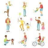 Fäder som spelar med ungeuppsättningen av illustrationer royaltyfri illustrationer