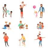 Fäder som tillsammans spelar, har gyckel och tycker om tid för bra kvalitet med deras uppsättning för små barn av vektorn stock illustrationer