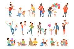 Fäder som tillsammans spelar, har gyckel och tycker om tid för bra kvalitet med deras uppsättning för små barn av vektorn royaltyfri illustrationer