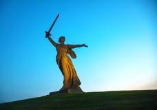 'Fäderneslandappellerna!', monument i Volgograd, Ryssland Royaltyfria Bilder