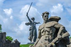 Fäderneslandmonumentet, Volgograd, Ryssland `-Hjältar slåss till död`-fyrkanten Fotografering för Bildbyråer