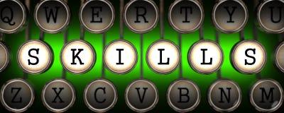 Fähigkeiten auf den Schlüsseln der alten Schreibmaschine Stockfotos