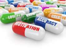 Fähigkeitskonzept. Pillen mit einer Liste von positiven Qualitäten für empl Lizenzfreie Stockbilder