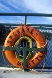 Fähre der Schwimmweste an Bord zu Bainbridge-Insel, WA Lizenzfreies Stockfoto