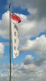 Fährenflaggenfliegen in einem Sturm Lizenzfreies Stockfoto