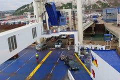 Fährenschiffsladen Stockfoto