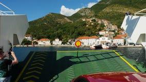 Fährensegeln auf der Bucht in Montenegro stock video footage