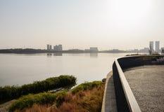 Fäktad plattform på den gräs- lakesiden i solig vintereftermiddag arkivfoton