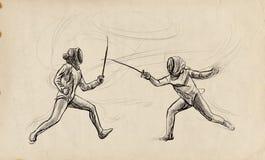 Fäktning - en utdragen illustration för hand Freehand skissa vektor illustrationer