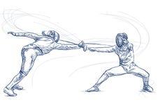 Fäktning - en utdragen illustration för hand Freehand skissa royaltyfri illustrationer