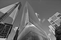 Fäll ned mahattan och en World Trade Center Arkivbild