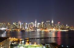 Fäll ned Manhattan horisont Arkivbild