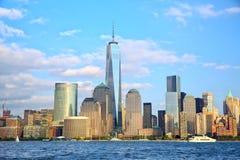fäll ned manhattan skyskrapor Arkivbilder