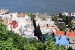 Fäll ned staden av gamla Quebec City, Kanada Arkivbild