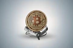 Fällan med bitcoin i faror av cryptocurrenciesbegreppet - tolkning 3d Royaltyfria Bilder
